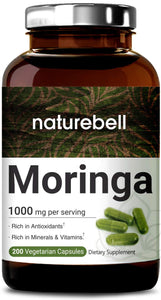 NatureBell Moringa Capsules, 1000mg Per Serving, 200 Counts, Green Superfood Supplement, Strong Antioxidant to Repair, Protect and Nurture your Skin Cells, Made in USA