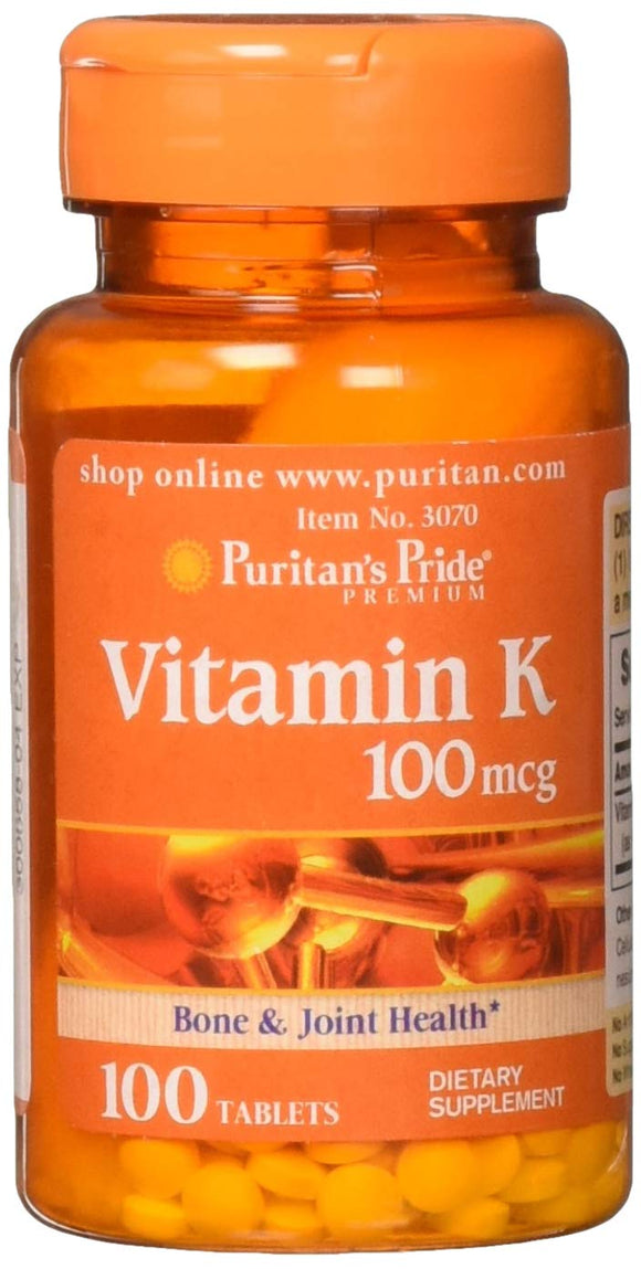 Puritans Pride Vitamin K 100 mcg Tablets, 100 Count