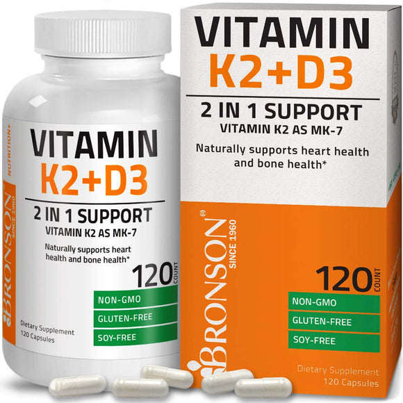 Vitamin K2 (MK7) with D3 Supplement Bone and Heart Health Non-GMO Gluten Free Formula 5000 IU Vitamin D3 & 90 mcg Vitamin K2 MK-7 Easy to Swallow Vitamin D & K Complex, 120 Capsules