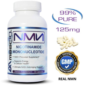 MAAC10 125mg NMN Nicotinamide Mononucleotide Supplement. The Most Powerful NAD+ Precursor. Supports DNA-Repair, Sirtuin Activation & Energy. (30 Capsules)