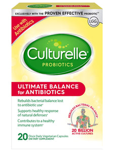 Culturelle Ultimate Balance Probiotic for Antibiotics  Once per Day | Contains 100% Lactobacillus rhamnosus GG | Restores Good Bacteria Lost to Antibiotic Use* | 20 Count