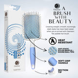 Hair Paddle Brush with Ionic Minerals - Thick Hair Detangler Brush for Hair Styling, Blow Drying, Straightening - Gentle Bristles, Easy Comfort Grip Flat by Osensia - Paddle Brush
