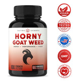 Premium Horny Goat Weed Extract [10X Strength Icariins] with Maca, Tribulus & Ginseng - Energy & Performance Complex for Men & Women - 1000mg Epimedium Powder Pills Supplement, Vegan Capsules