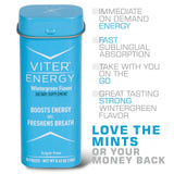 Viter Energy Wintergreen Caffeinated Mints - 40mg Caffeine & B-Vitamins Per Powerful Sugar Free Mint. Boost Energy, Focus & Fresh Breath. 2 Pieces Replace 1 Coffee, Energy Drink, Caffeine Candy & Gum(6 X 20 Piece Containers)