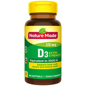 Nature Made Vitamin D3 5000 IU Ultra Strength Softgels 180 Ct