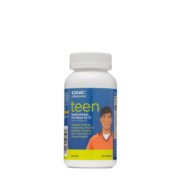 GNC milestones Teen Multivitamin for Boys 12-17, Supports Energy, Muscle, 120 Caplet