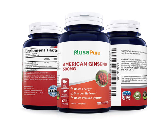 American Ginseng 500 mg 200 Capsules (Non-GMO & Gluten Free) - Supports Focus, Energy & Immunity Booster, Panax Ginseng Root Extract for Men & Women