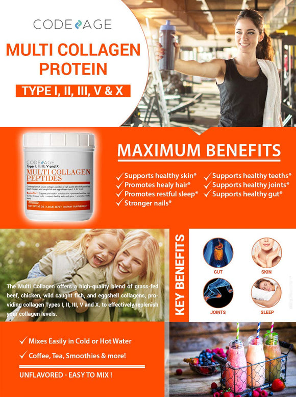 Codeage Multi Collagen Protein Powder Hydrolyzed, Type I, II, III, V, X Grass Fed All in One Super Bone Broth and Collagen, 20 Ounces