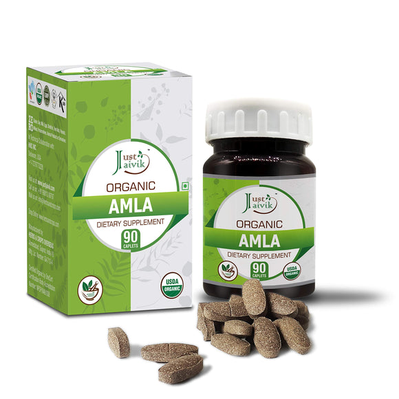 Just Jaivik Organic Amla Tablets 750mg 90 Organic Tablets Digestion and Immunity