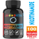 Dr. Seth's Nicotinamide 500 mg 100 Niacinamide Veggie Capsules - Vitamin B3 - Flush Free Niacin Formula - Support Energy Production, Metabolism, Niacinimide - Gluten Free - Vegetarian - Non GMO-GMP
