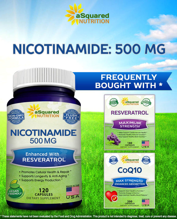 Nicotinamide with Resveratrol - NAD+ Booster (120 Veggie Capsules) - Vitamin B3 500mg (Niacinamide Flush Free) - Supplement Pills to Support NAD, Anti Aging DNA Repair, Skin Cell Health & Energy