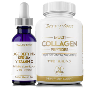 Beauty Boost  Vitamin C Age Defying Serum with Hyaluronic Acid + Multi Collagen Peptides Type I II III V X - Helps Decrease Wrinkle Depth, Reduce Fine Lines and Stretch Marks