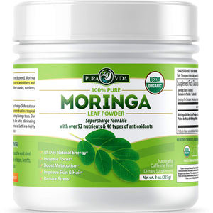 Organic Moringa Oleifera Leaf Powder - USDA Certified Organic Single Origin Moringa Powder from Nicaragua. Perfect for Smoothies, Recipes and Moringa Tea. 8 oz.