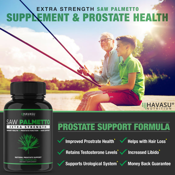Havasu Nutrition Saw Palmetto Supplement for Prostate Health - Supports Those with Frequent Urination - Supports DHT Blocker and Hair Loss Prevention - Gluten Free, Non-GMO, 100 Capsules
