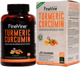 FineVine Turmeric Curcumin with BioPerine Black Pepper and Ginger  60 Veg Caps