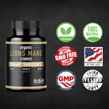 Organic Lions Mane Mushroom Capsules  2100 mg Max Capsule Dose  Absorption Enhancer  Brain Supplement and Immune System Booster