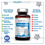 NAD B3 Nicotinamide 500 mg 100 Capsules  Natural Flush-Free Vitamin Formula | Gluten-Free Nicotinic Amide Niacin | Supports Skin Health | Healthy Cell Repair Support