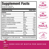 Hair Gummy Vitamins with Biotin 5000mcg for Women by Torrie's Naturals. Promotes Natural Hair Growth, with Shiny, Thicker and Stronger Hair. Packed with Vitamins B-12, C, D, and E & More.