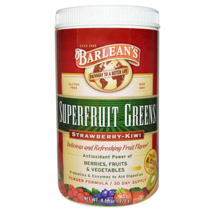 Barlean's,Superfruit Greens ,Powder Formula,Strawberry-Kiwi, 270g