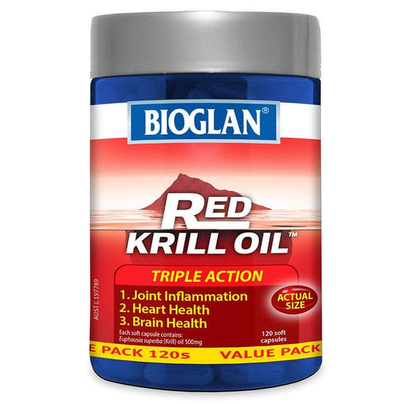 Bioglan Red Krill Oil 500mg 120 Capsules Triple Action Original