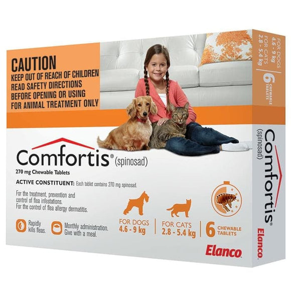 COMFORTIS 270MG 4.6-9KG TABLETS 6 PACK - ORANGE