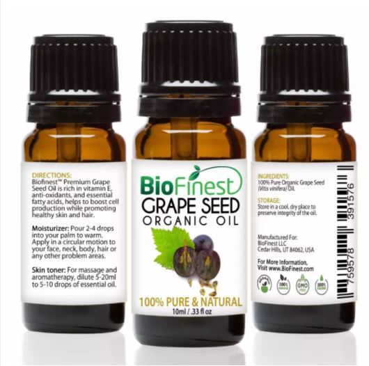 Biofinest Grapeseed Organic Oil (100% Pure Organic Carrier Oil) 10ml