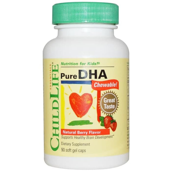 ChildLife, Pure DHA Chewable, Natural Berry Flavor, 90 Soft Gel Caps