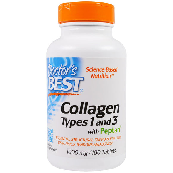 Doctor's Best, Collagen, Types 1 and 3 with Peptan, 1,000 mg, 180 Tab