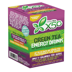 GREEN TEA X50 30 SERVE PASSIONFRUIT SLIMMING ANTIOXIDANT ENERGY DRINK