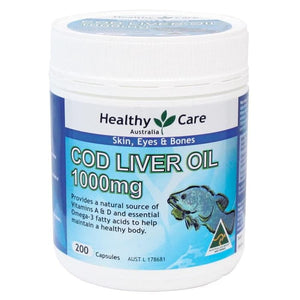 Healthy Care Cod Liver Oil 1000mg, 200 capsules