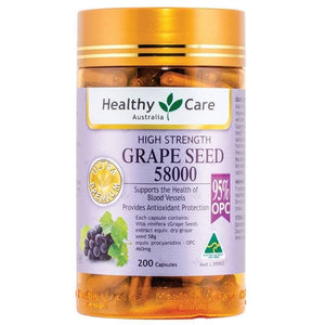 Healthy Care High Strength Grape Seed 58000, 200 Capsules