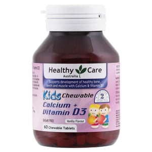 Healthy Care Kids Chewable Calcium + Vitamin D, 60 Tablets
