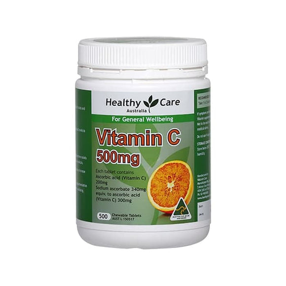 Healthy Care Vitamin C 500mg, 500 Chewable Tablets