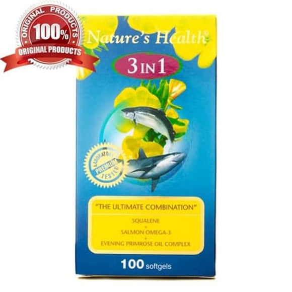 Nature's Health Squalene, Omega 3, Evening Primrose Oil 3 in 1 100s