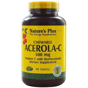 Nature's Plus, Chewable Acerola-C, Vitamin C with Bioflavonoids, 500 m