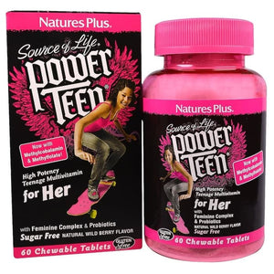 Nature's Plus, Source of Life, Power Teen, For Her, Natural Wild Berry