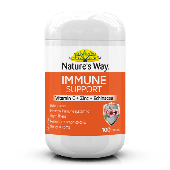 Nature's Way Immune Support 100 Tablets Vitamin C Zinc Echinacea