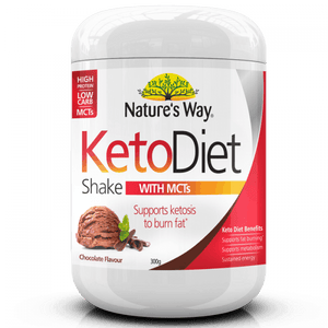 Nature's Way Keto Diet Shake Chocolate 300g Powder with MCTs Coconut