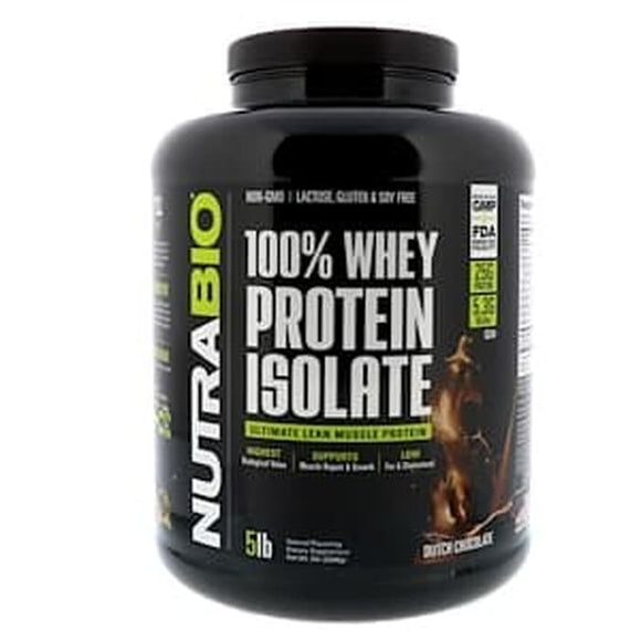NutraBio Labs,100% Whey Protein Isolate,Dutch Chocolate,5 lbs (2268gr)