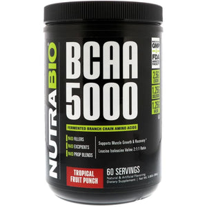 NutraBio Labs, BCAA 5000, Tropical Fruit Punch, 0.85 lb (384 g)