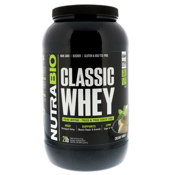 NutraBio Labs, Classic Whey Protein, Creamy Vanilla, 2 lbs (907 g)