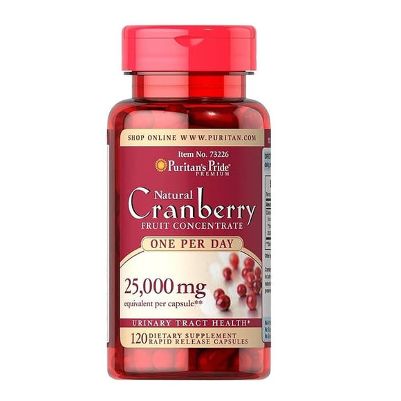 Puritans Pride Natural Cranberry Extract 25000mg 120 Tablets