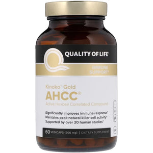 Quality of Life Labs, Kinoko Gold AHCC, Immune Support, 500mg, 60 Caps