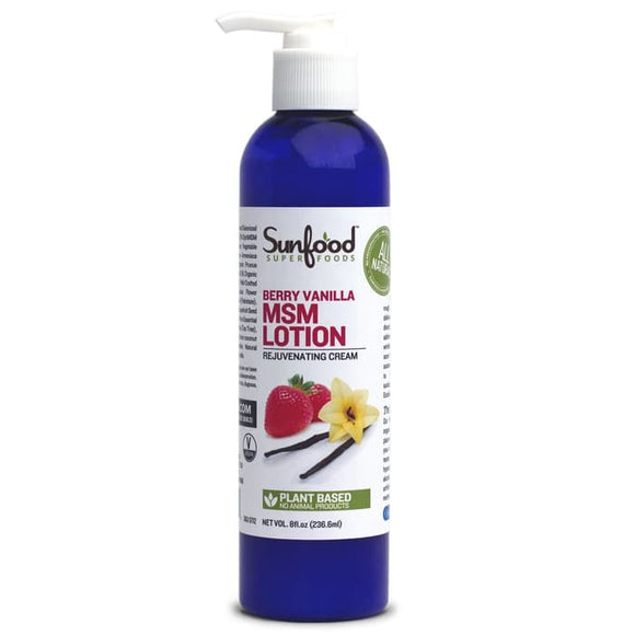 Sunfood, MSM Lotion, Rejuvenating Cream,Berry Vanilla,8 fl oz (236.6g)