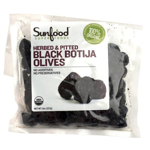 Sunfood, Organic Black Botija Olives, Herbed & Pitted, 8 oz (227 g)