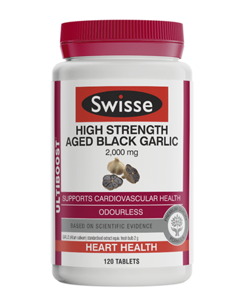 Swisse High Strength Aged Black Garlic 2000mg 120 Tablets Vegetarian