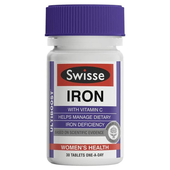 Swisse Ultiboost Iron with Vitamin C 30 Tablets