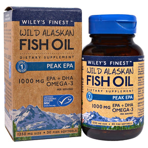 Wiley's Finest, Wild Alaskan Fish Oil, Peak EPA, 1250 mg, 30 Fish Softgels