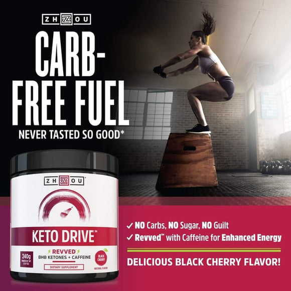 Zhou Nutrition, Keto Drive, Revved, Black Cherry, 8.47 oz (240 g)
