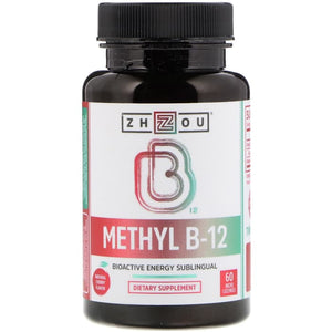 Zhou Nutrition,Methyl B-12,Bioactive Energy Sublingual,Natural Cherry